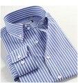100%  Cotton Big size M-3XL 4XL 5XL Autu-Summer Men Long Sleeve Casual DressBusinesss Strip Shirts Red Blue