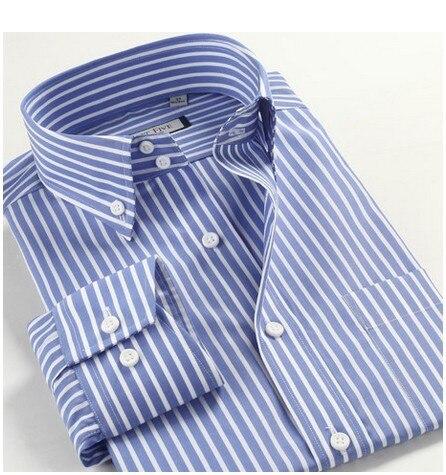 100% cotone grande formato m 3xl 4xl 5xl autu estate uomo manica lunga casual dressbusinesss striscia shirt rosso blu-in Camicie da abito da Abbigliamento da uomo su  Gruppo 1