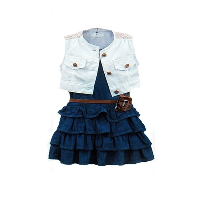 Girl Clothes, Blue Denim Dress + White Vest Children Clothing Sets Kids Girls Sets Girls Boutique Clothing Summer Sets
