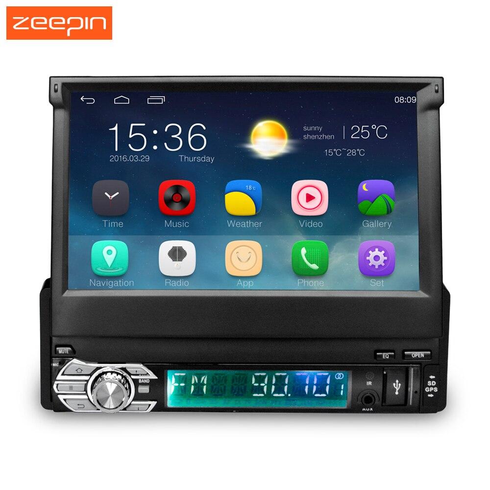 Zeepin 7 дюймов автомобиля Радио WI-FI Bluetooth Мультимедийные плееры для автомобиля + GPS навигации Android 5.1 1 DIN выдвижной Сенсорный экран 16 г Встроенна...