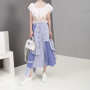Image 3 - 2019 קוריאני סגנון נשים קיץ סימטרי כחול פסים מקרית חצאית קפלי אלסטי מותניים גבירותיי אופנתי חצאית Robe Femme 5243