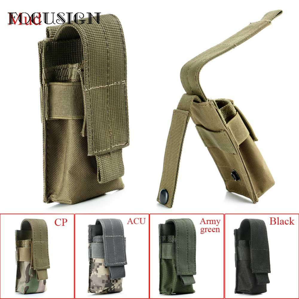 Molle Single Cartridge Clip Bag Pistol Magazine Pouch Holder Airsoft Tactical Military Paintball For Flashlight Battery Pouch