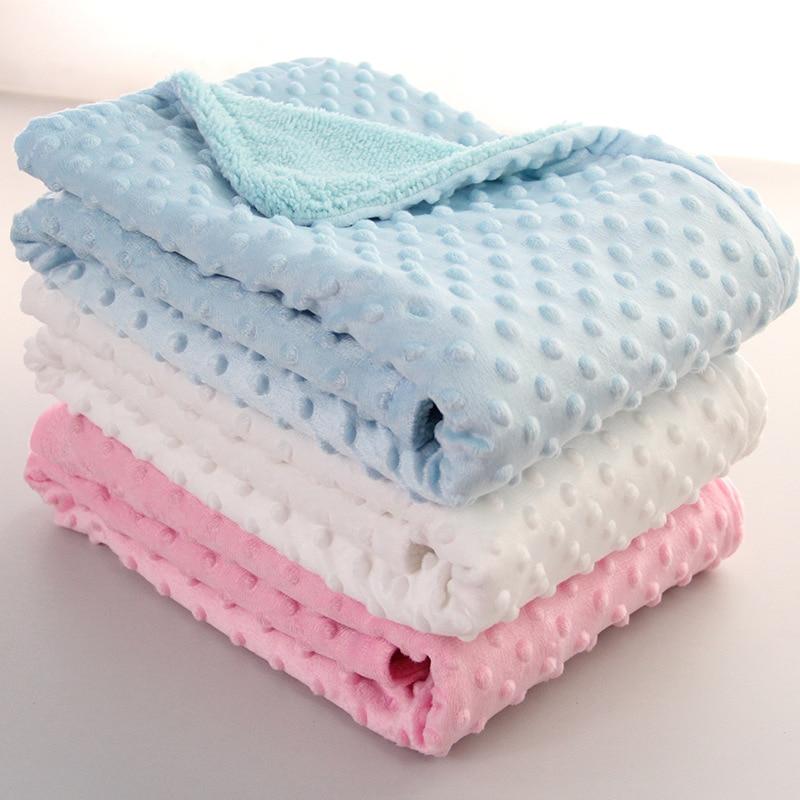 75*100CM Fleece Baby Blanket Newborn Baby Swaddle Wrap Soft Winter Baby Bedding Receiving Blanket Manta Bebes Sleeping Cobertor promo sale chunky knit blanket wool knit throw blanket super bulky yarn blanket bulky gift 100cm 100cm