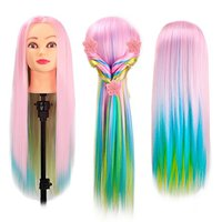24 Cosmetology Manikin Mannequin Head 100 Synthetic Hair Rainbow Color Practice Training Hair Styling Mannequin Head