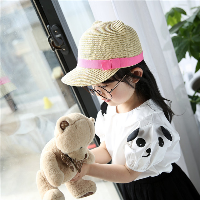 dccb44b28a7 Mother and Kids Straw Hat Cut Girl Sun Hat With Cat Ear Summer Children and  Adult Hit Color Beach Cap