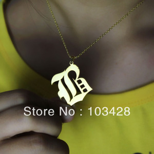 Image 4 - AILIN Personalized Necklace 925 Silver Letter Necklace Customized Old English Font Custom Nameplate Necklace Christmas Jewelry