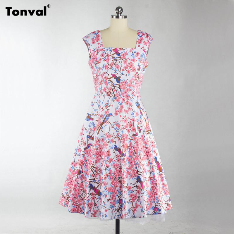 Tonval Square Collar Yellow Dress Summer 2018 Women Vintage Cotton ... 87323673c588