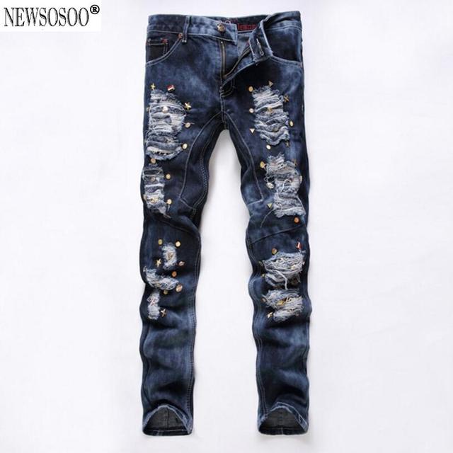 Newsosoo biepa carta nueva américa hi-calle estilo rasgado agujero jeans para hombres slim fit straight jeans gastados hommes mj102