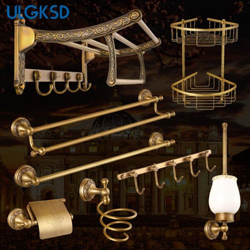 Ulgksd cuarto de baño establece papel Tissue Holder + toalla estantes + Escobillero + secador de pelo accesorios para el baño