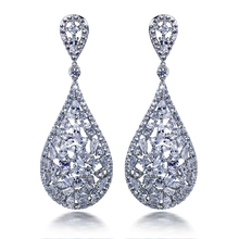 New fashion Wedding anniversary present for women Cubic Zirconia Brass Lead free Platinum Plated Drop earrings