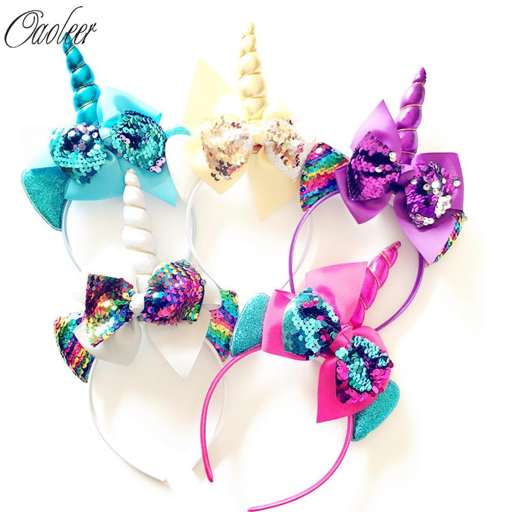 Sequin Cartoon Headband Girls Big SequinBows Hairband For Kids Rainbow Cartoon Horn Party Hair Accessories