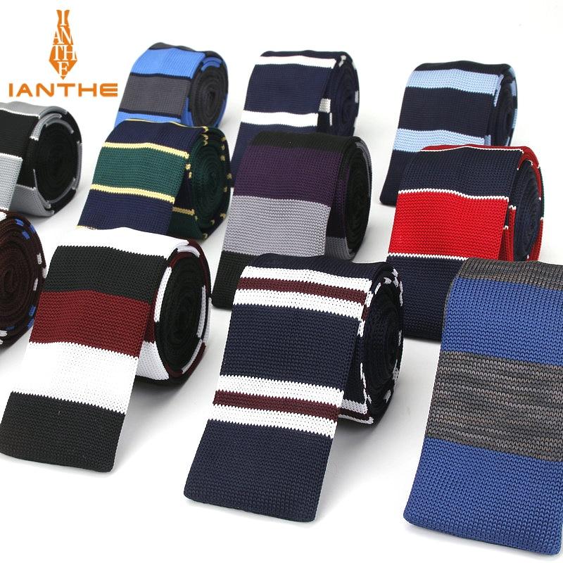 Men's Suits Knit Tie Plain Stripe Brand Necktie For Wedding Party Tuxedo Shirts Woven Skinny Gravatas Cravats Knitted Slim Ties