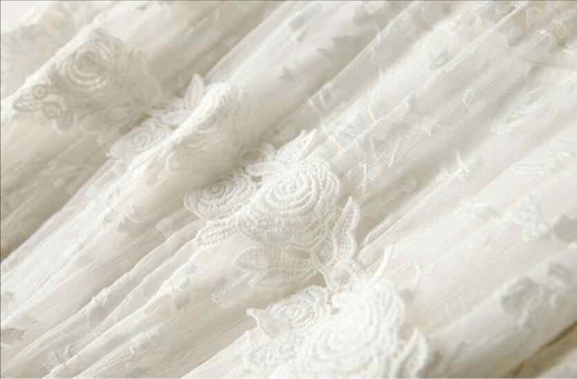シルクドレス女性天然シルクロング刺繍夏ビーチでの休暇ドレス白高品質