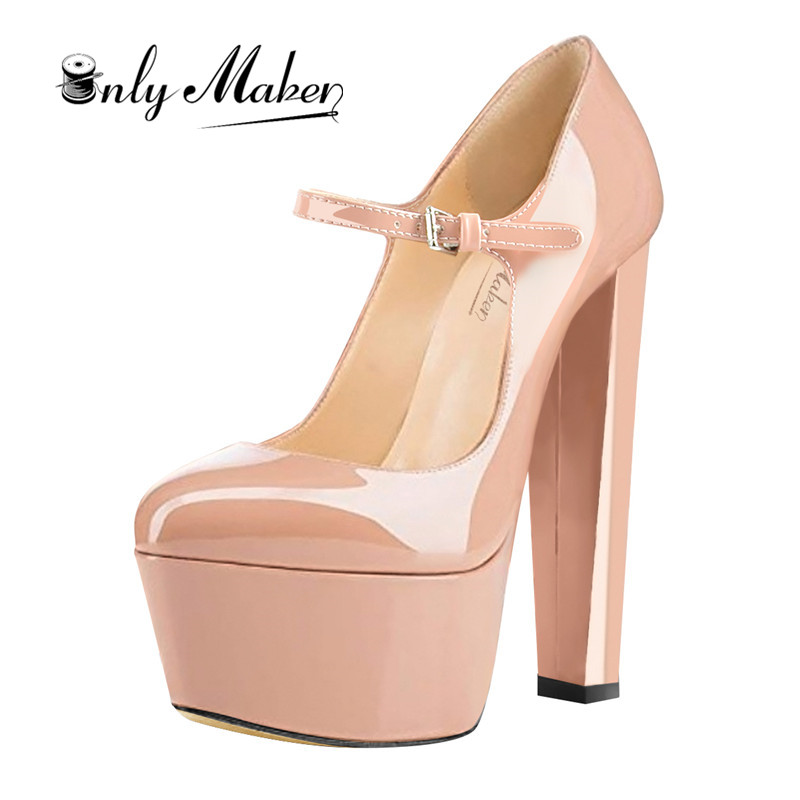 Women Mary Jane Platform Pumps Ankle Strap thick 15 16cm Round Heel High Heels Dress Buckle