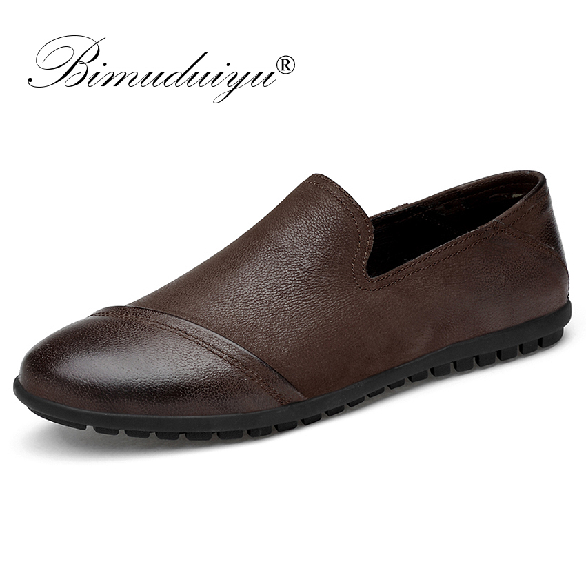BIMUDUIYU Top Quality Genuine Leather Men Flats Shoes Handmade Loafers Casual Shoes Slip On Men Moccasin Driving Shoes Plus Size discount 2017 men velvet loafers genuine leather slip on rivets flat casual shoes driving mocassin wedding party shoes plus size