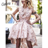 2019 High Low Homecoming Dresses A Line Cute Lace Pink Short Prom Dress Party Dress Juniors Dresses For Teens