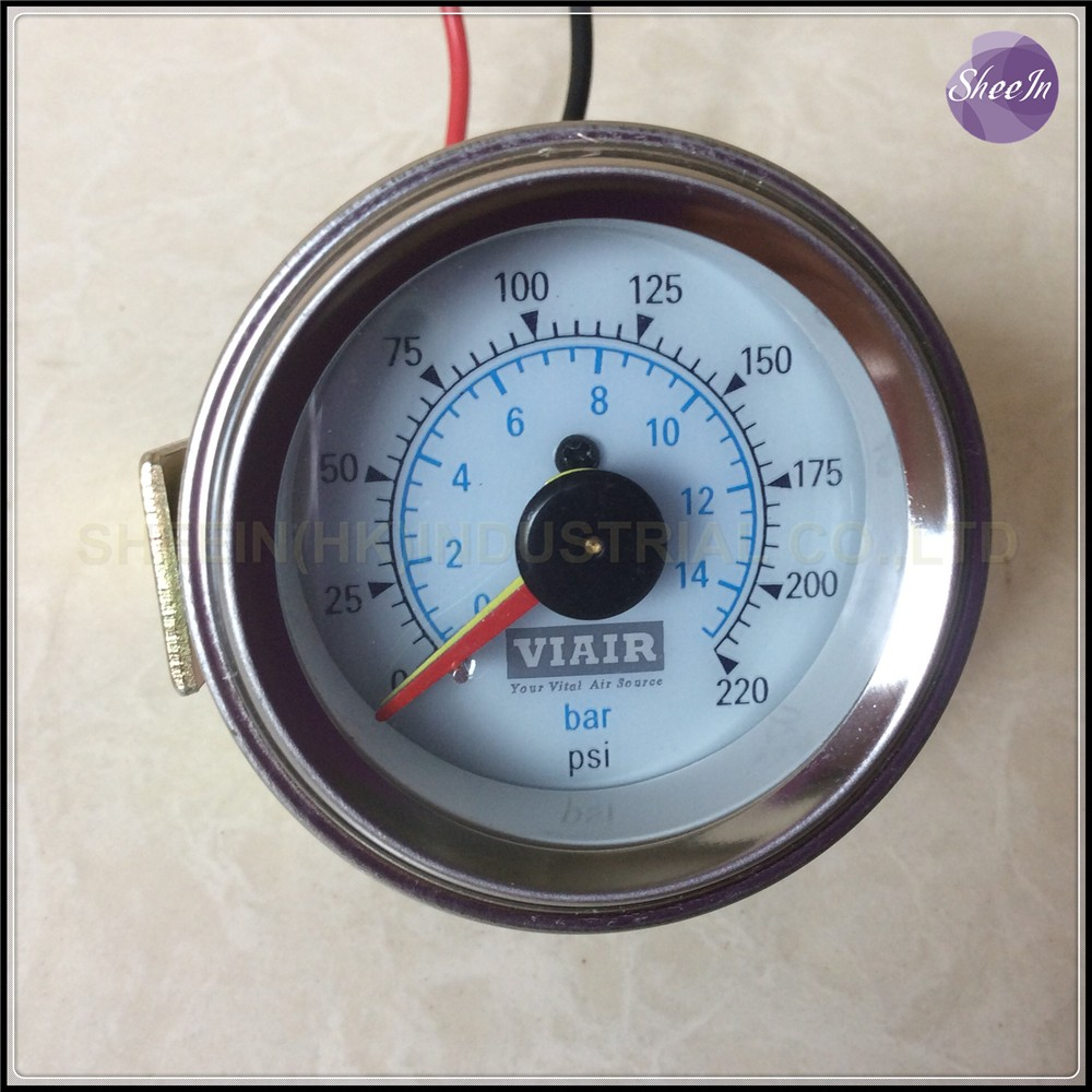 VIAIR Double pointer air gauge DUAL needles 0 220PSI white face barometer pneumatic suspension air ride air bag pressure