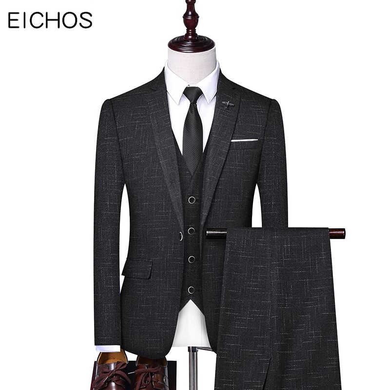 2019 Top Quality Men Suits Three-piece Luxury Groom Wedding Suit For Best Men Korean Style Slim Fashion Boutique Formal Suit Man