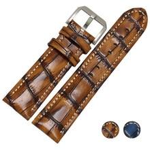 Retro Crocodile pattern Handmade Genuine Leather 20mm 22mm Watch band Strap Watchbands For PAM  for Tissot Ome Belt Bracelet все цены
