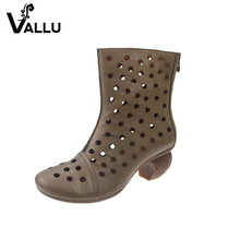 Ankle Sandal Boots Women Summer 2017 High Heels Boots Genuine Leather Fretwork Retro Cool Women's Shoes