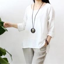 2017 весной и летом хлопок белье блузка красный новое прибытие оригинальный дизайн урожай топы конопли бамбука женская белая рубашка blusa
