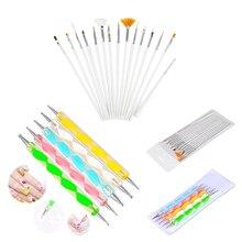 15pcs Pro UV Acrylic Nail Set Manicure Brushes + 5pcs Double Heads Dots Pen Drawing Creating Nail Art Design Nail Pen Brush Set