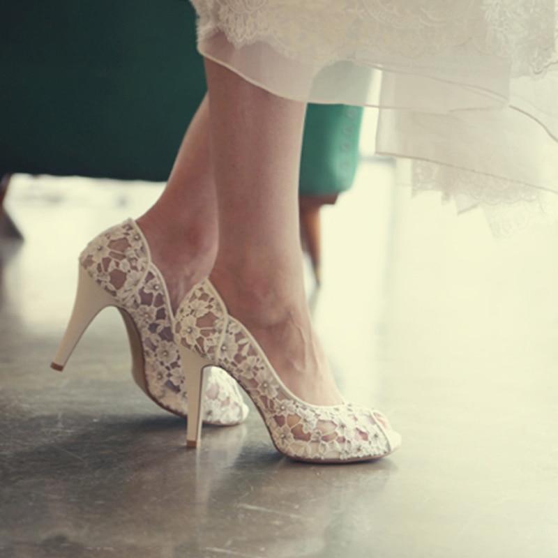 Bling Bling Blumen Hochzeit Schuhe Ziemlich Stunning Mit Hohen Absätzen Braut Kleid Schuhe Peep Toe Weiß Spitze Kristall Hand gefertigt Prom pumpen-in Damenpumps aus Schuhe bei  Gruppe 3