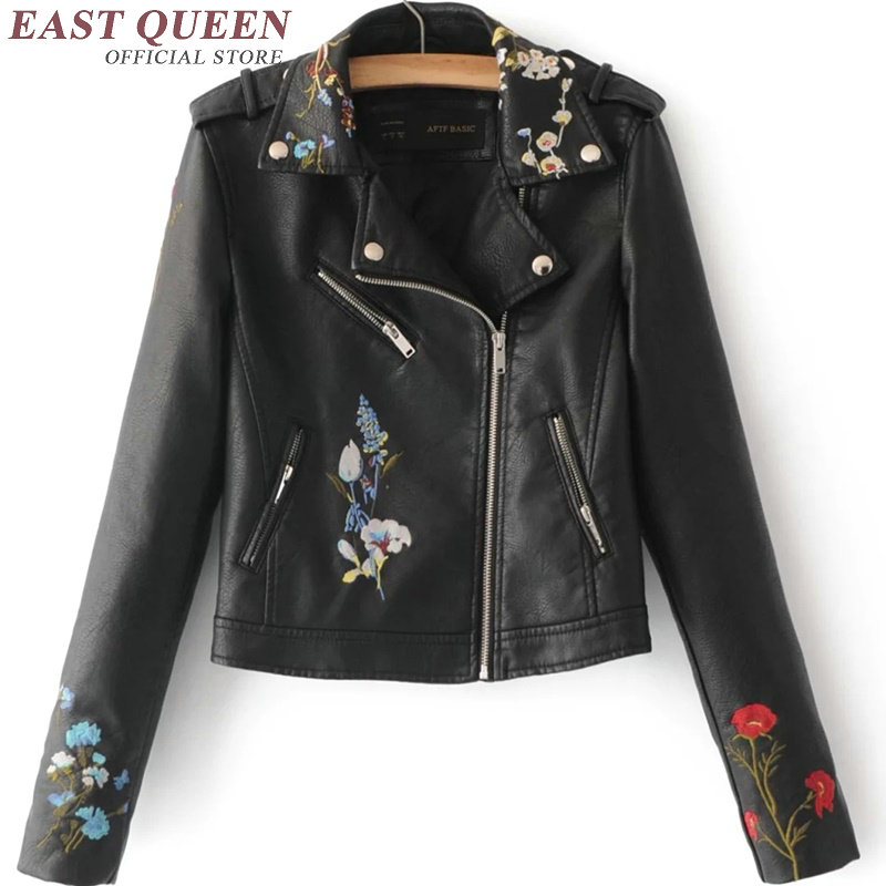 US $39.6 45% OFF|Women's leather jacket full sleeve casual slim embroidered floral outwear short jacket turn down collar jacket DD228 F in Jackets