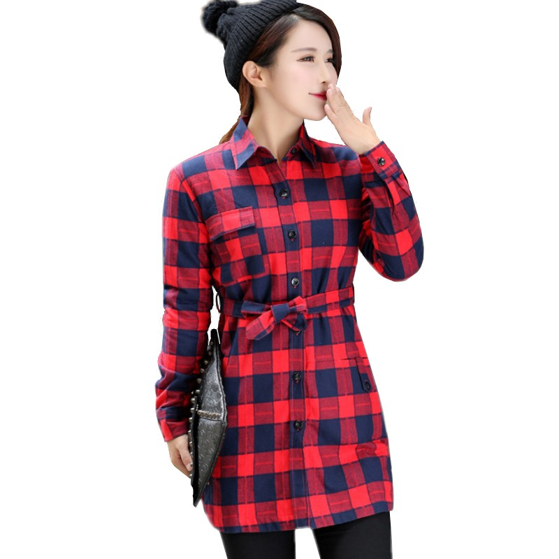 Femmes Plaid flanelle chemises Blusa Camisa Femininas hiver coton Plein Épais velours blouses Femme Étudiant Plus Chemise HS1596