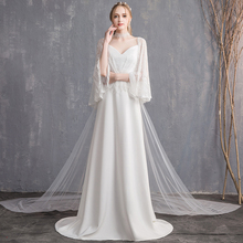 Beauty-Emily White Lace Wedding Dresses 2019 Long for Women Thin Party Bridal Gowns Custom made