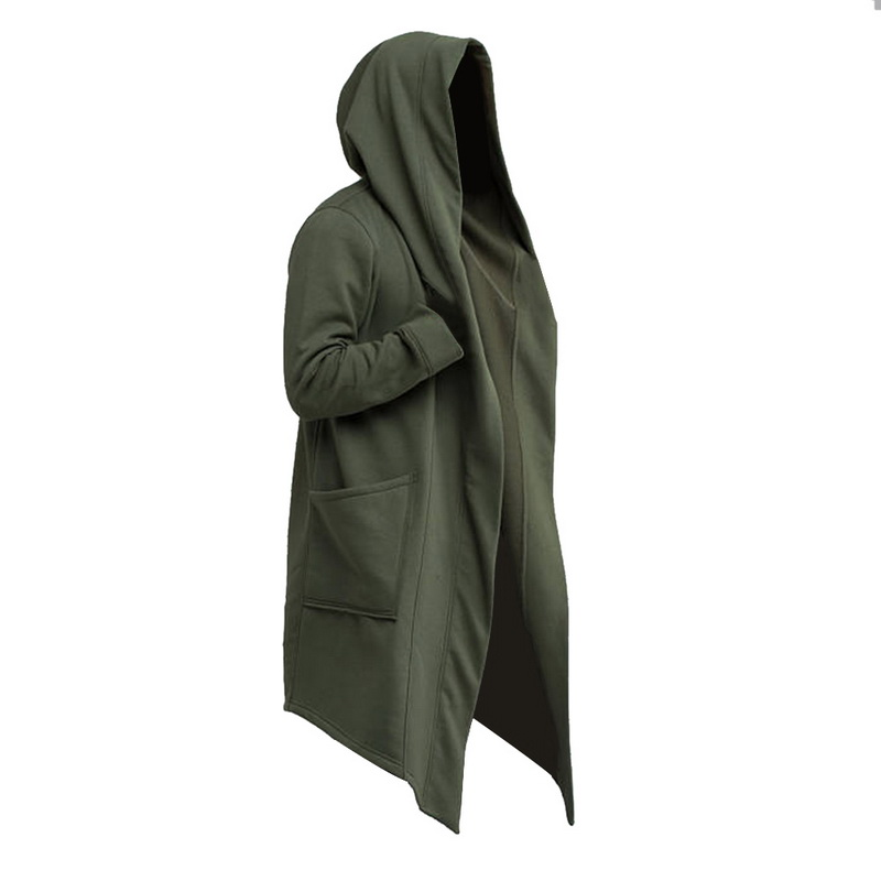 Vintage Men Autumn Winter Hoodies Jacket Long Cardigan Coat Casual Hip Hop Solid Pocket Jacket Hooded Outerwear Veste Homme Trench    - AliExpress
