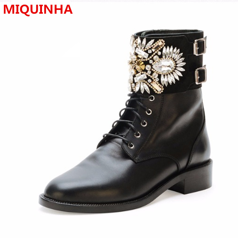 купить 2017 Shoes Woman Autumn/Winter Lowland Lace Up Metal Buckle Handmade Crystal Ankle Knight Boots Mujer Shoes Design Woman Boots недорого