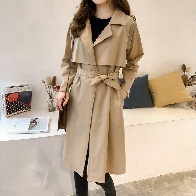 autumn New British Style Female   trench   coat Women's Windbreaker over the knee Outerwear belt Women Large size