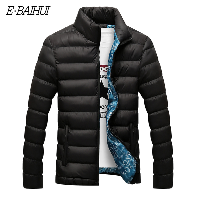 E-BAIHUI Winter Jacket Men 2019 Fashion Stand Collar Male Parka Jacket Mens Solid Thick Jackets And Coats Man Winter Parkas G022