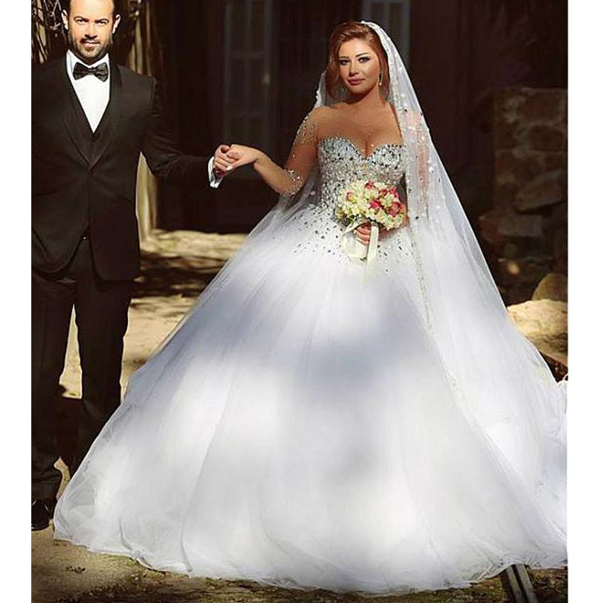 2017 Luxury Ball Gowns Wedding Dress Bridal Gown Desses Long Sleeve ...