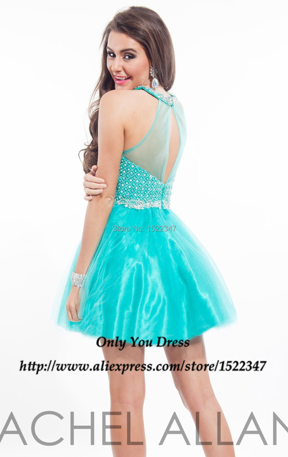 a0e8677c7f Bling Bling Crew Turquoise Purple Pearls Beads 2015 Cocktail Dresses for Girls  Semi Formal Homecoming Dress Tulle QE397-in Cocktail Dresses from Weddings  ...
