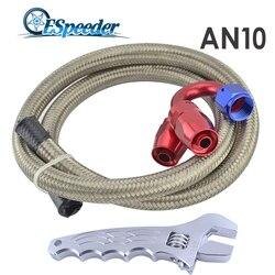 ESPEEDER AN10 10-1 M + prosto + 180 stopni przewód paliwowy węża obrotowe montaż podwójnie pleciony przewód ze stali nierdzewnej wężyk olejowy zestaw z klucza