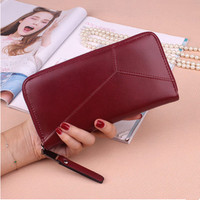 Women Wallet 2017 Brands Zipper Wallet Card Bag Female High Quality Long Clutch Bags Red Leather