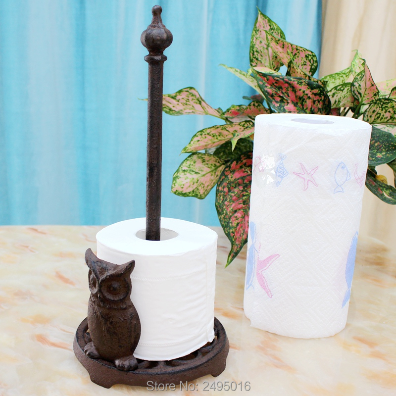 Owl Cast Iron Animal Paper Towel Holder Bath Tissue Toilet Roll