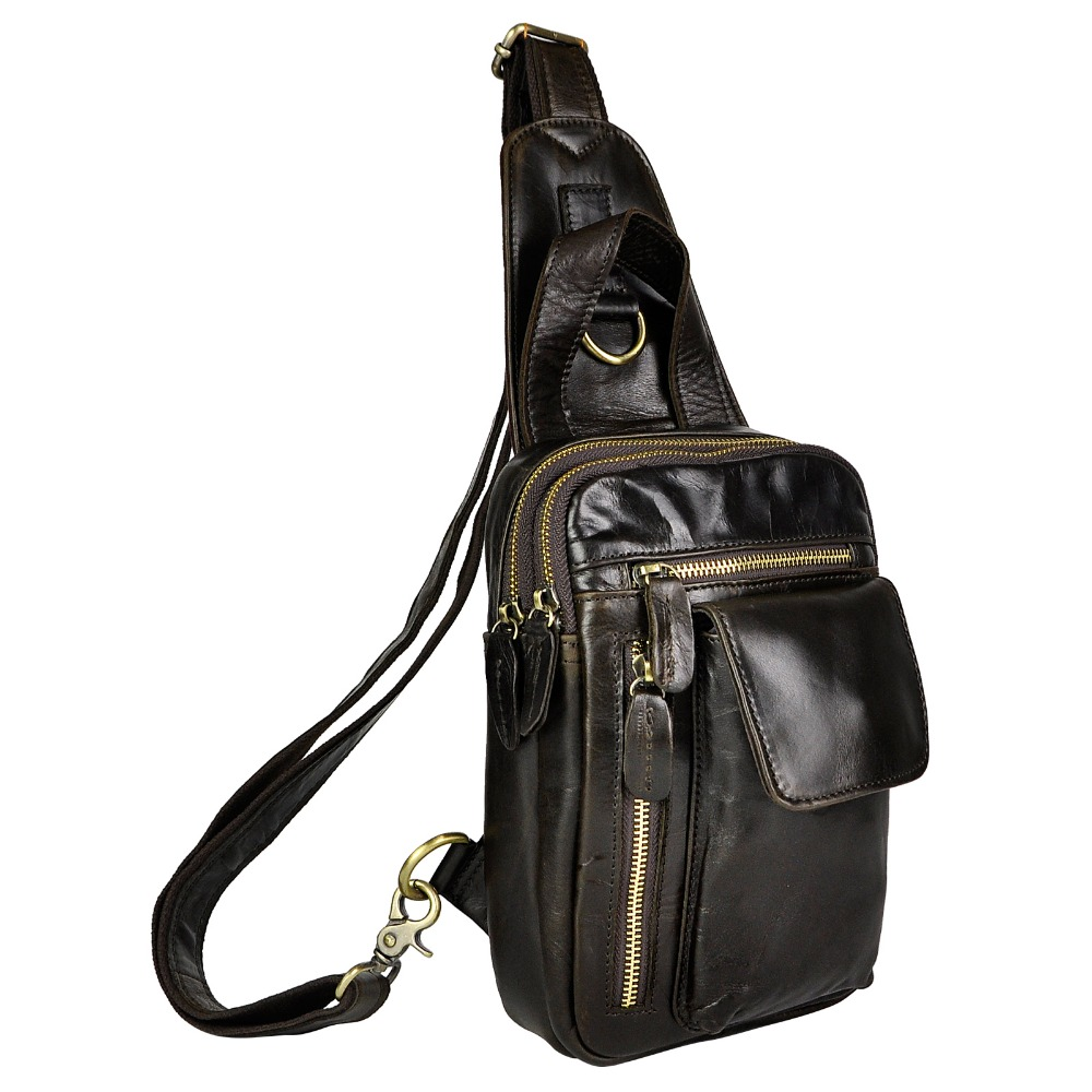 Unisex Real Leather Casual Chest Bag Sling Bag Design Daypack One Shoulder Bag Fashion Crossbody Bag