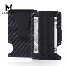 Mini Slim Wallet Money Clip Carbon Fiber and Metal Aluminum design Credit Card ID Holder With RFID Blocking and Bottle Opener все цены