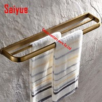 Luxury Wall Mount Double Towel Bar Brass Antique Creative Bathroom accessories Towel Rack rod holder