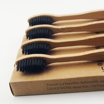 100 Pieces Black 100% Bamboo Toothbrush Wood toothbrush Novelty Bamboo soft-bristle Capitellum Bamboo Fibre Wooden Handle фото