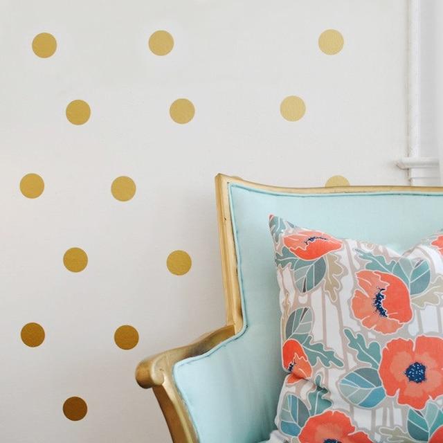 Gold Polka Dots Spot Diy Vinyl Wall Decals Sticker Art Kids Nursery Room