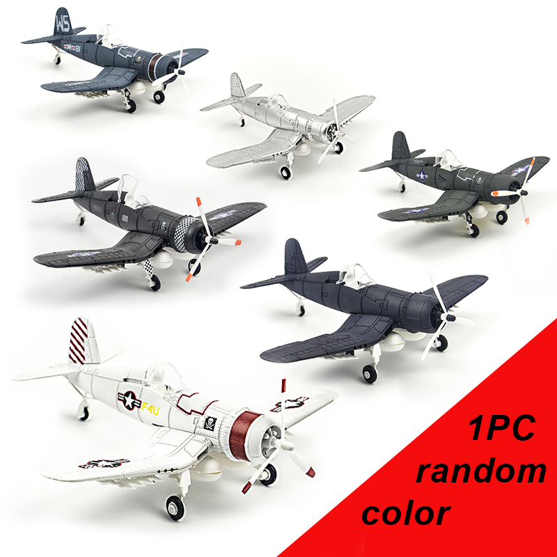 6 Colors 1/48 4d Assemble military Models Toys building sets Aircraft airplane F4U carrier based plane Fighter Diecast War-II image
