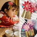 Женщины Цветок Головные Уборы Клип Haripin Волосы кимоно Юката Кисточки Косплей Аксессуары