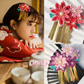 Mujeres Borlas kimono Yukata Flor Headwear Pinza de Pelo Haripin Cosplay Accesorios