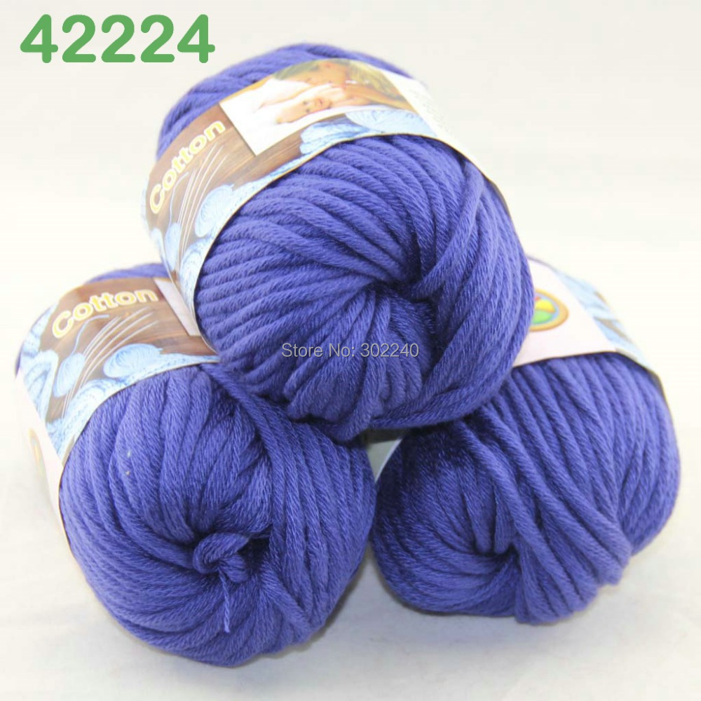 Lot Of 3 Balls X 50g Special Thick Worsted Cotton Knitting