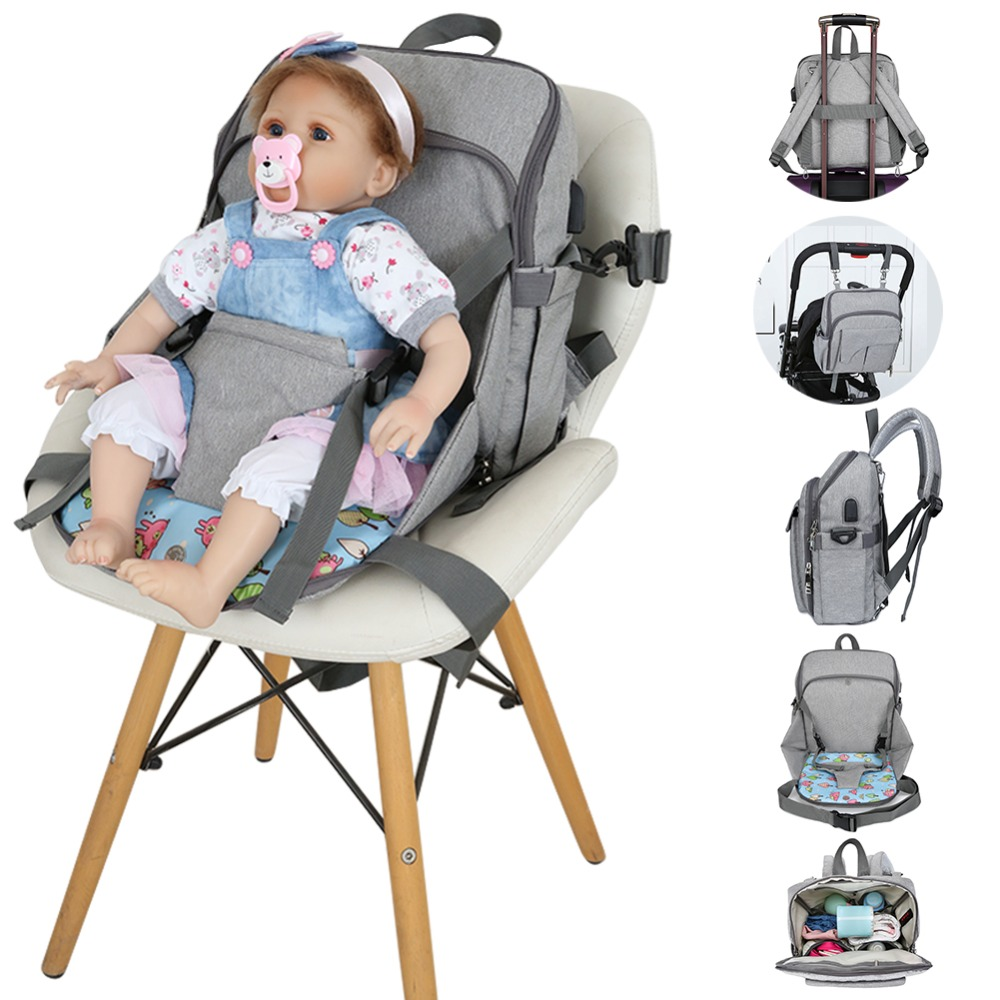 2-in-1 Baby Diaper Bags Baby Dining Seat Folding Waterproof USB Mummy Diaper Bag Dining Seat Pad Maternity Backpacks