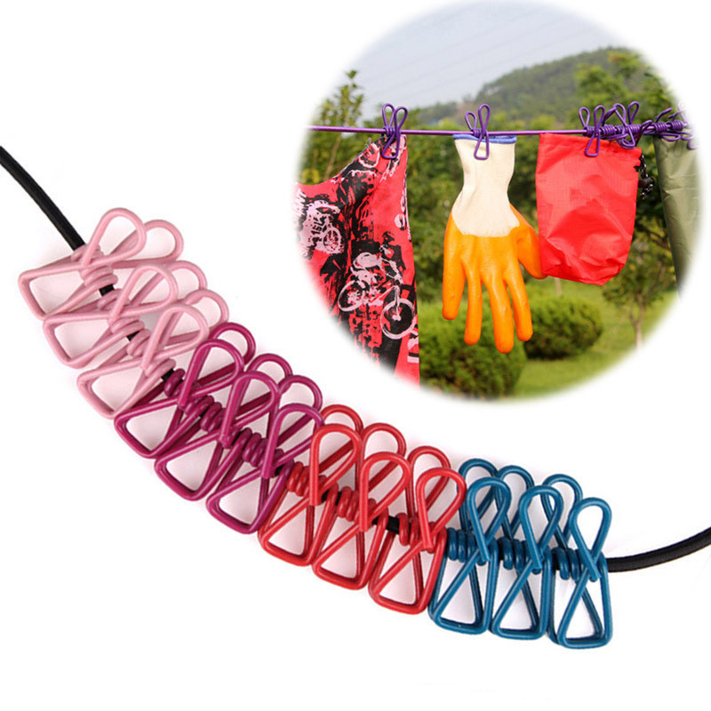 Outdoor Portable Anti-skid Clothes Line Rope Outdoor Camping Travel Laundry Clothesline With Hooks And Clips